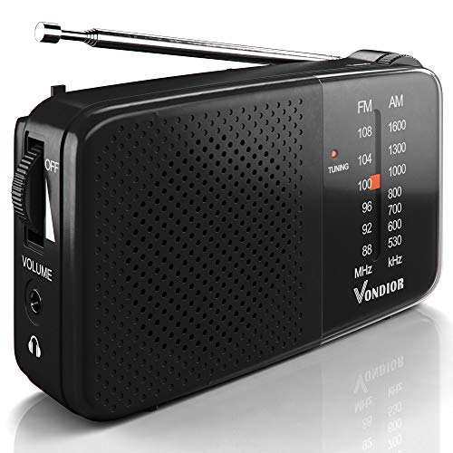 AM FM Radio - Best Reception and Longest Lasting. AM FM Radio Portable Player Operated by 2 AA Battery, Mono Headphone Socket, by Vondior (Black)
