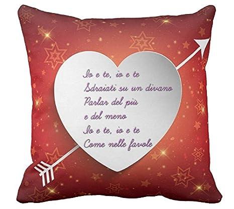 Cuscino Personalizzato 40x40 Frase Canzone Vasco Rossi Cuore Amore