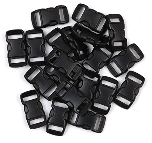 Penta Angel 3/8 Inch Black Plastic Curved Buckle DIY Craft Webbing Contoured Side Quick Release Buckle for Bracelets Backpack Tactical Bag and Gear (20 PCS) (Small Buckle)