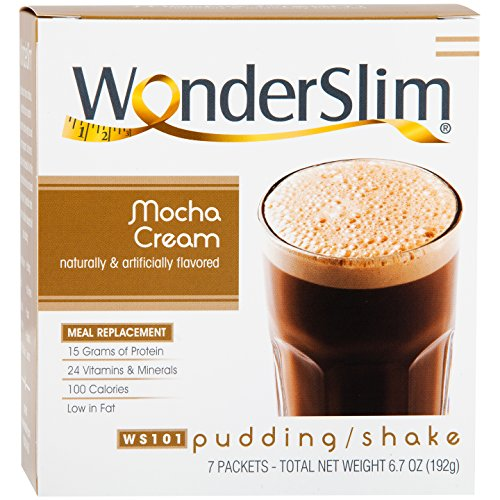WonderSlim High Protein Meal Replacement Shake / Low-Carb Diet Shakes & Pudding Mix (15g Protein) - Mocha Cream (7ct) - Low Carb, Low Fat, Gluten Free, Kosher