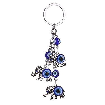 Amazon.com: afco mal de ojo azul clave Cadena Cute Elephant ...