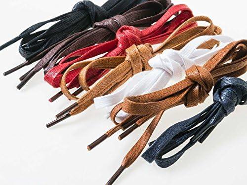 蝋引きシューレース 平紐 靴紐 靴ひも 0.6×120cm ブラウン