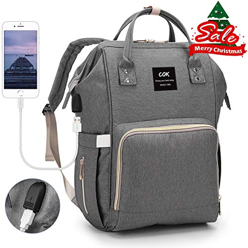 Cok Diaper Bag Backpack with Charging Pad, USB Heating Insulated Pockets & Stroller Straps, Waterproof Large Capacity Nappy Bags for Baby Care, Multi-Function and Durable
