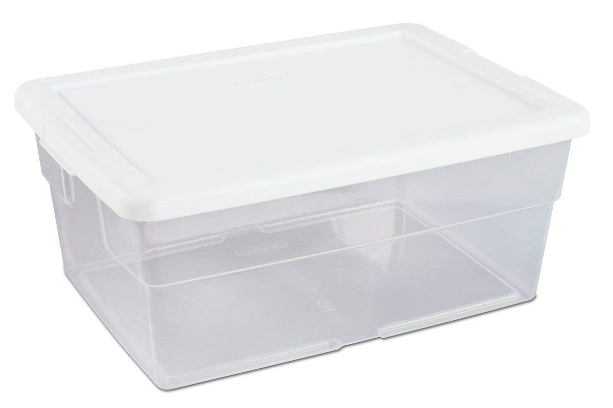 16448012 16 Quart/15 Liter Storage Box, White Lid Clear Base