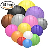 Paper Lanterns, VERONES 15 PACK Paper Lanterns with 15 Colors and 5 Sizes Perfect for Wedding Decoration Reception Crafts Party Lights and DIY Lanterns