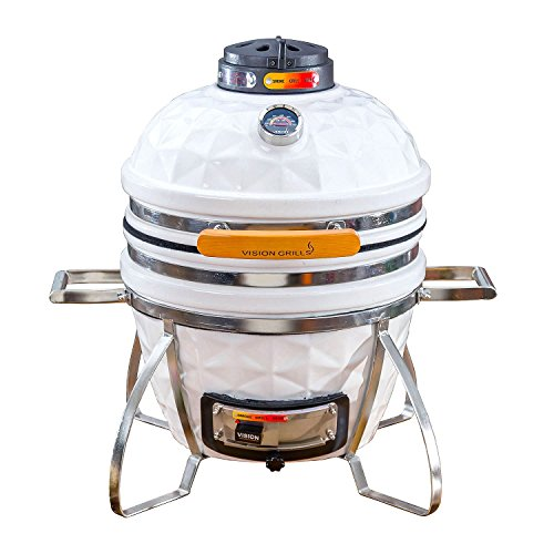 Vision Grills Diamond-Cut Cadet Kamado Grill (White) by Vision Grills
