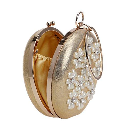 de JOYIYUAN Pearl Banquet Lady Gold Hombro de Embrague Color Bolso Gold Ladybag Bolso Hombro de de Hq0nRrHWt