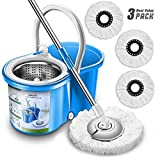 Aootek Upgraded Stainless Steel Deluxe 360 Spin Mop & Bucket Floor Cleaning System Included EasyPress Handle with 3 Microfiber Mop Heads