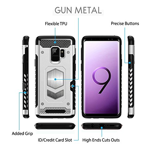 Jazliv [Gun Metal Series] Heavy Duty Protector [Wireless Charging Ready]+[Magnetic Car Mount Ready] with Slim Card Holder (Wallet), Raised TPU for Screen Protection (Silver) Compatible with Galaxy S9 by JazLiv (Image #4)