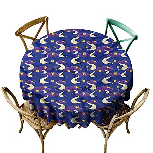 Luunins Round Tablecloth Moon,Demilune Characters Sky D70,for Accent Table
