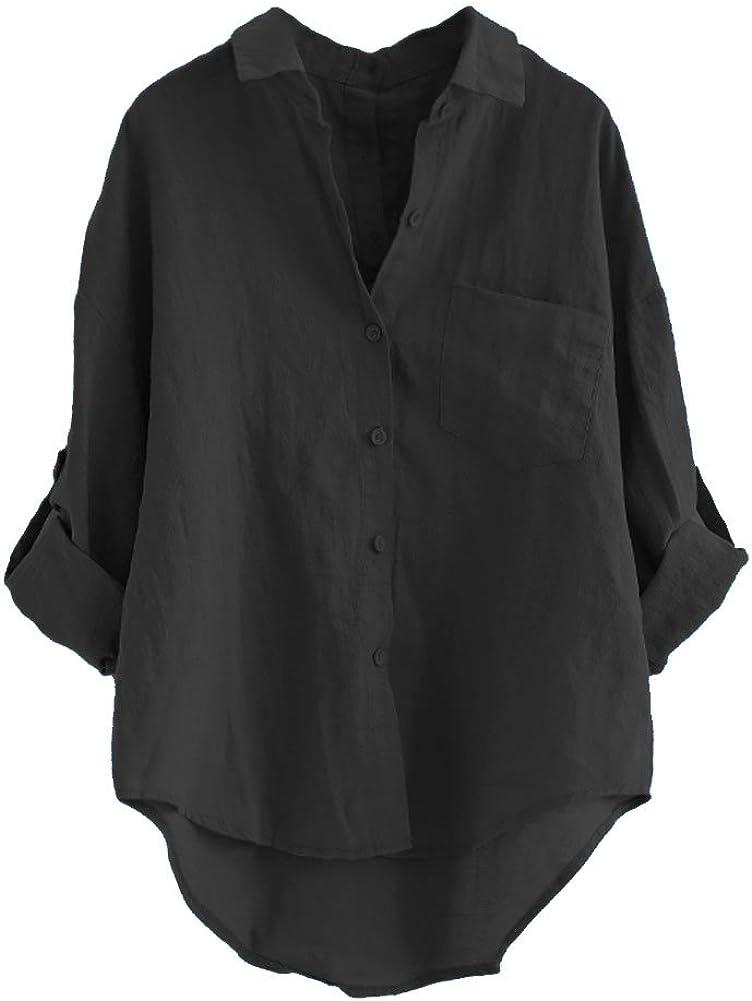 Minibee Women's Linen Blouse High Low Shirt Roll-Up Sleeve Tops