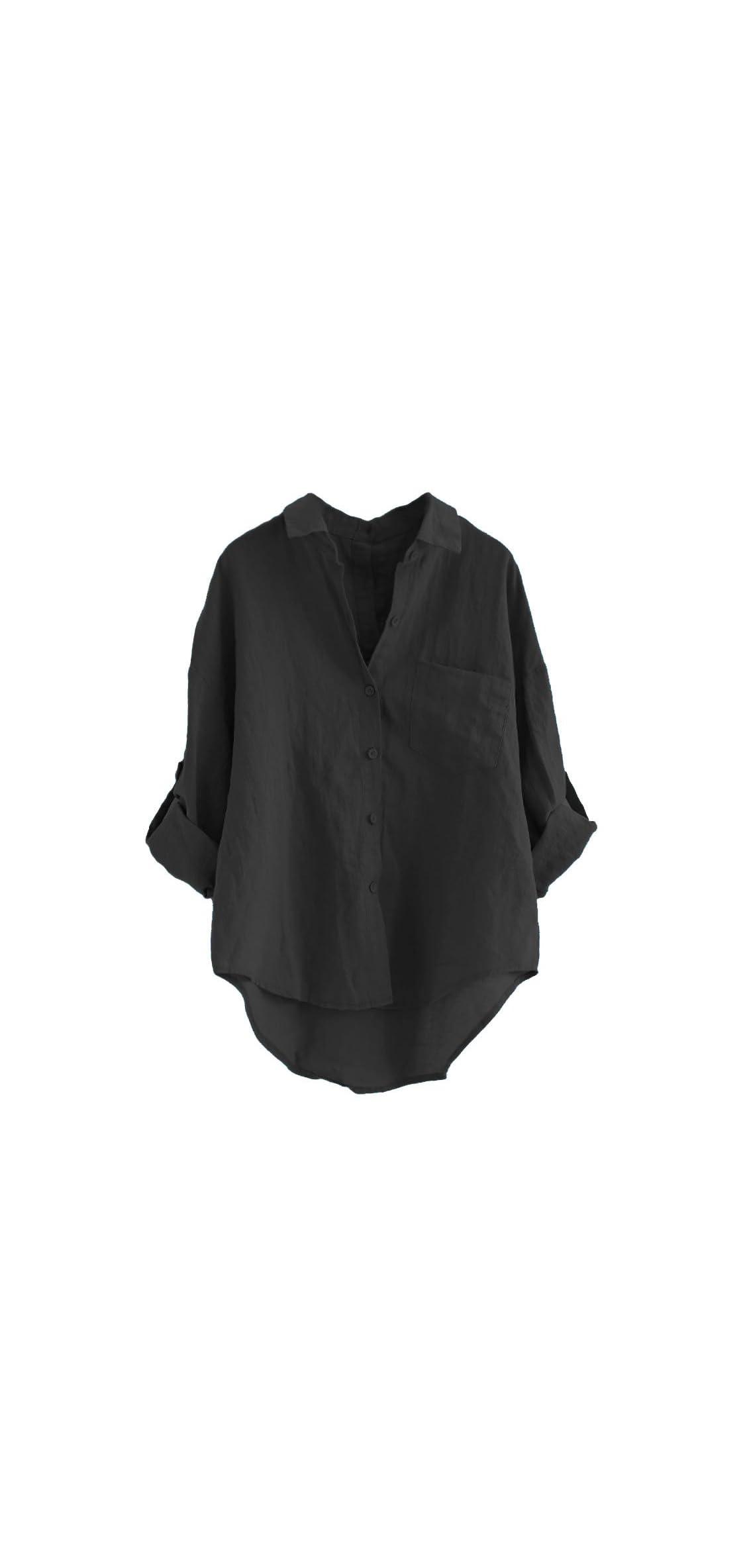 Women's Linen Blouse High Low Shirt Roll-up Sleeve Tops
