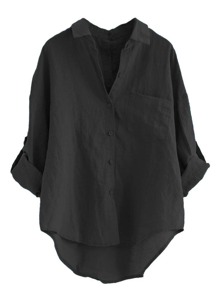 Minibee Women's Linen Blouse High Low Shirt Roll-Up Sleeve Tops Black 2XL
