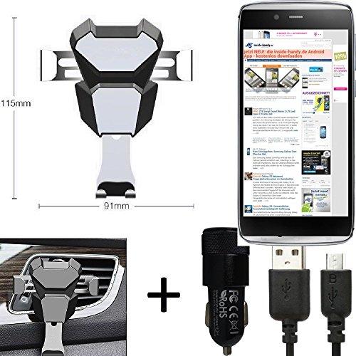K-S-Trade for Alcatel One Touch Idol Alpha bracket vent mount ventilation grille black-silver car motor vehicle Smartphone holder + car charger for Alcatel One Touch Idol Alpha -