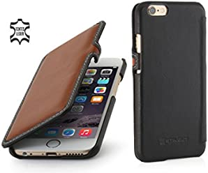 """StilGut Book Type Case con Clip, Custodia in Vera Pelle a Libro per Apple iPhone 6s (4.7""""), Marrone/Nero Nappa"""