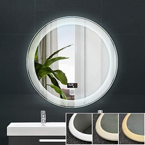 ModernRound Shape LED Mirror Bathroom, Wall Mounted Energy Efficient Illuminated Mirror with -