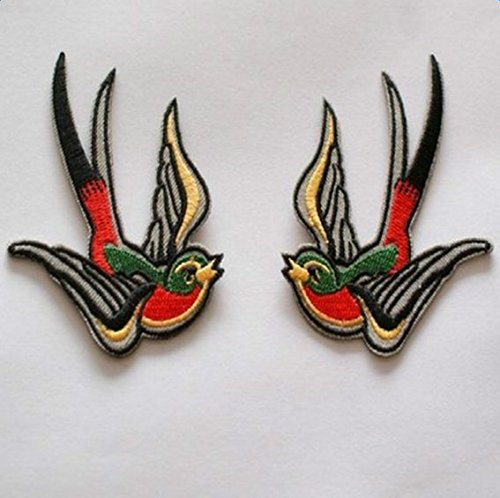 Hosaire 1 Pair Iron Sew On Embroidered Patches Motif Applique Birds Clothed Decoration Patches Dress Backpack Jacket Jeans Hats Bag DIY Sew Colorful Bird Embroidered Iron