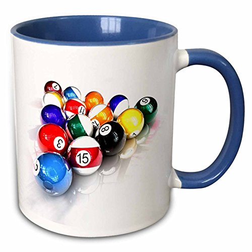 "3dRose mug_3318_6""Billiards Balls Pool"" Two Tone Blue Mug, 11 oz, Blue/White"