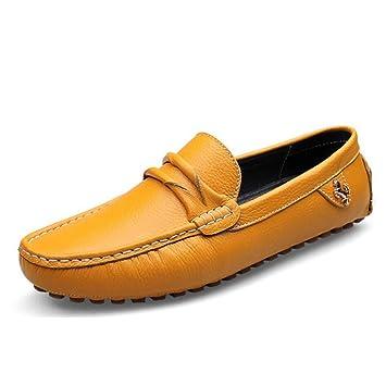 HhGold Zapatos de Cuero para Hombres, Mocasines y Zapatillas sin Cordones Calzado holgazán, Zapatos