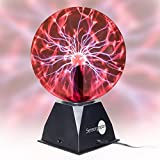"SensoryMoon True 8"" Plasma Ball Lamp – Large Electric Globe Static Light w Touch, Sound Sensitive Lightning, Big 8 Inch Glass Sphere and Mini Tesla Energy Coil is Best Science Toy Nightlight for Kids"
