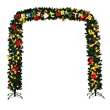 Amaethon 9' x 8' Artificial Christmas Pre Lit Tree Lights Arched Clear Pine Leland Holiday Ft Decoration Arch Archway Design w/LED Lights