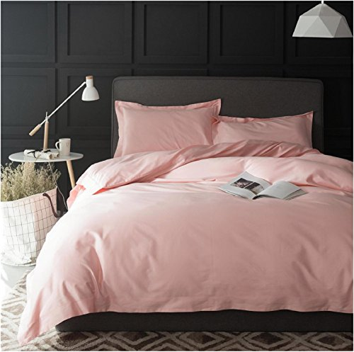 Rose Gold Duvet Cover Luxury Bedding Set High Thread Count Egyptian Cotton Sateen Silky Soft Blush Pale Pink Solid Colored (Queen, Pastel Coral)