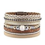 COOLLA Braided Wrap Bracelet Pearl Beads Leather Cuff Bangle Women Bracelet (Beige)