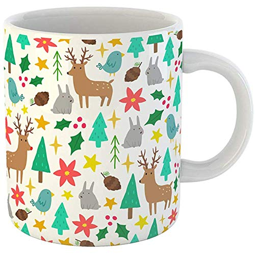 Coffee Tea Mug Gift 11 Ounces Funny Ceramic Green Abstract Cute Cartoon Christmas Red Animal Berry Gifts For Family Friends Coworkers Boss Mug