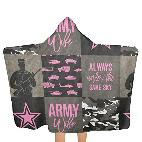 Oversized Hooded Baby Towel Bathrobe Army Wife Patchwork Always Under Same Sky Soldier Military Bright Pink Camo Beach Bath Towel Toddler Swim Pool Coverup Poncho Cape for Kids Children Teenager