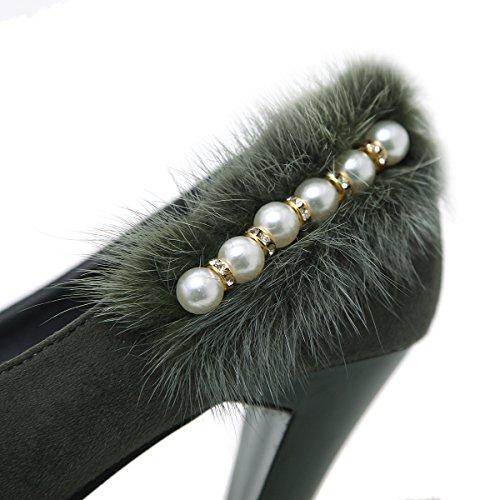 alti tacchi Taiwan molla nuova La alti tonda con i testa green scarpe a tacchi impermeabile donna ZHZNVX qBZp6w