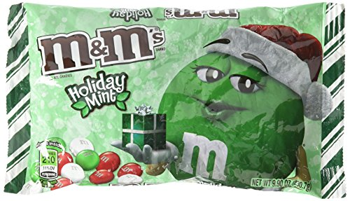 M&M's Mint Chocolate, Christmas Red, Green and White Candies, 9.9oz Bags 2 Pack -