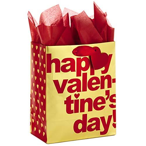 Hallmark Medium Valentines Day Gift Bag with Tissue Paper (Gold Happy Valentines Day)