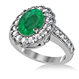 14k Gold Allurez Emerald and Diamond Oval Halo Milgrain Edged Engagement Ring (3.28ct)