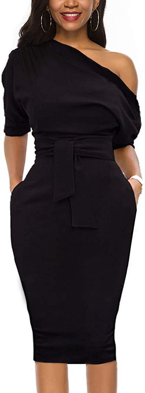 Nature Comfy Elegant Womens Wear to Work Casual one Shoulder Belted Pencil Dress with Pockets