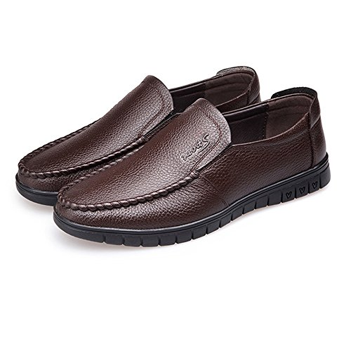 Slip Dark Sole Classic Optional Leather Soft Perforation Flat Loafer Shoes Leather Genuine Bn on Shoes Men's T6v6Y