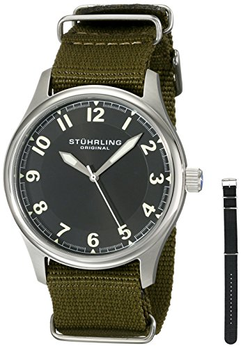 Stuhrling Original Men s 741.SET01 Aviator Stainless Steel Watch with Interchangeable Canvas Bands