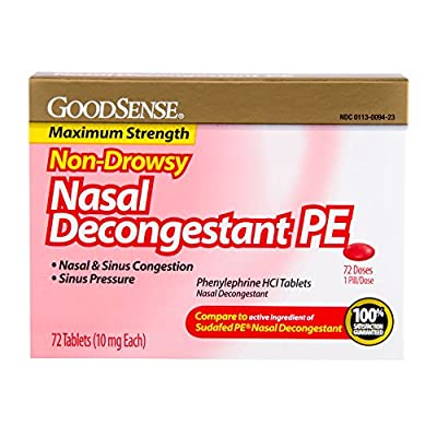 GoodSense Nasal Decongestant Phenylephrine HCL Tablets, 10 mg