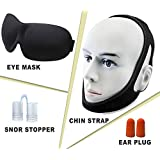 4 in 1 Premium Sleeping Set - aDreamSleep Set of 4 Sleeping Accessories– Sleeping Set Contains Chin Strap, Eye Mask, Snore Stopper & Earplugs - Fully Blocks Light and Sounds for Perfect Sleep