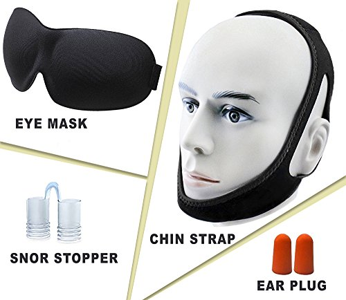 4 in 1 Premium Sleeping Set - aDreamSleep Set of 4 Sleeping Accessories– Sleeping Set Contains Chin Strap, EyeMask, Snore Stopper & Earplugs - Fully Blocks Light and Sounds For Perfect Sleep