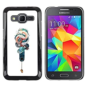LECELL--Funda protectora / Cubierta / Piel For Samsung Galaxy Core Prime SM-G360 -- Snake Dragon Teal White Chinese Luck --