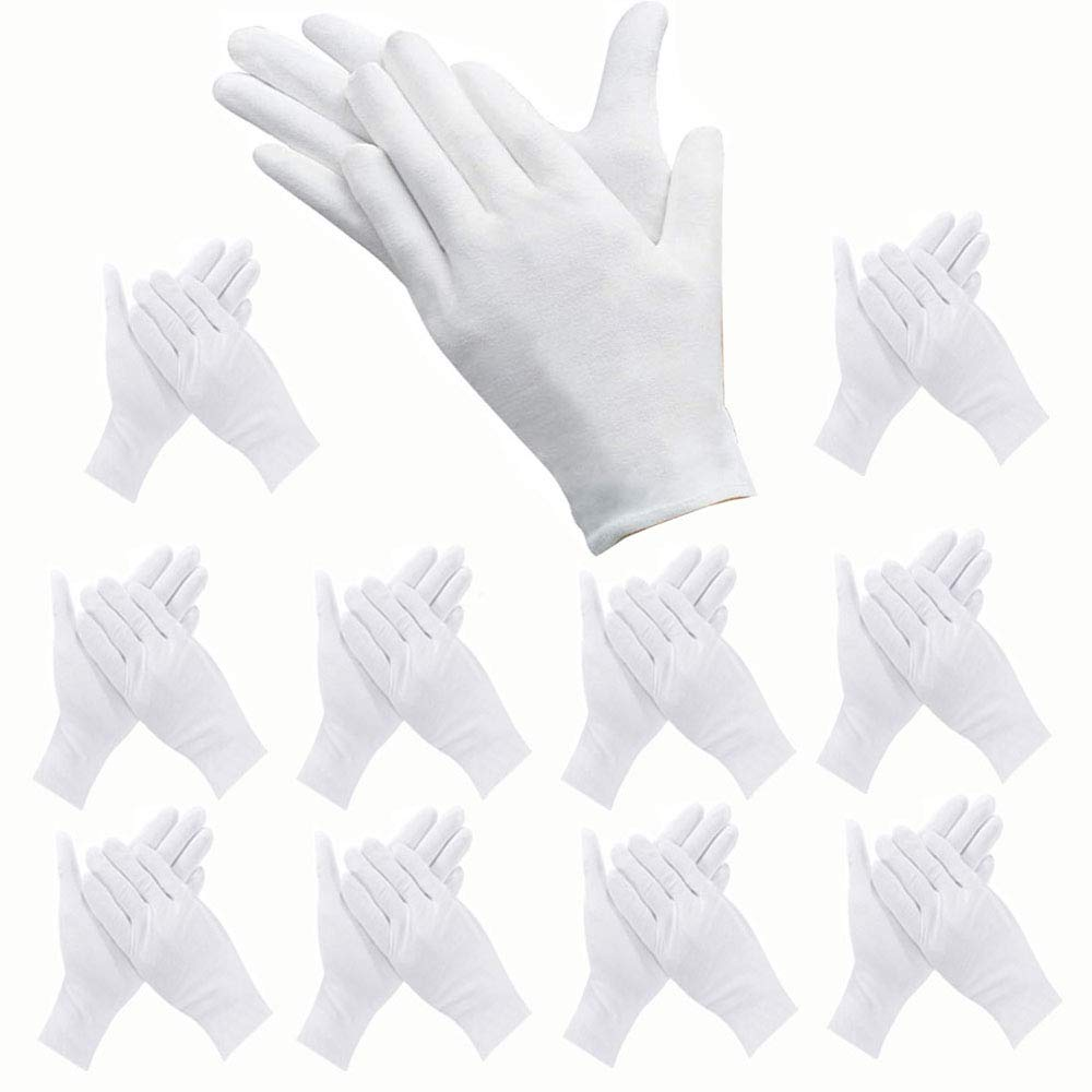 24 Pcs White Gloves, ANDSTON 12 Pairs Soft Cotton Gloves, Coin Jewelry Silver Inspection Gloves, Stretchable Lining Glove, Medium Size