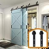 ZEKOO Rustic 13 FT Stanley Bypass Barn Door Hardware Max Modern Sliding Steel Track for Double Wooden Doors Parts