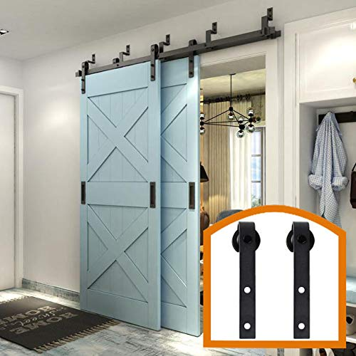 - ZEKOO Rustic 11 FT Stanley Bypass Barn Door Hardware Max Modern Sliding Steel Track for Double Wooden Doors Parts