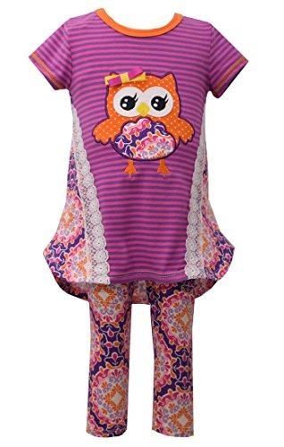 Bonnie Baby Girls Fall Damask Owl Legging Set (0m-24m) (12 -