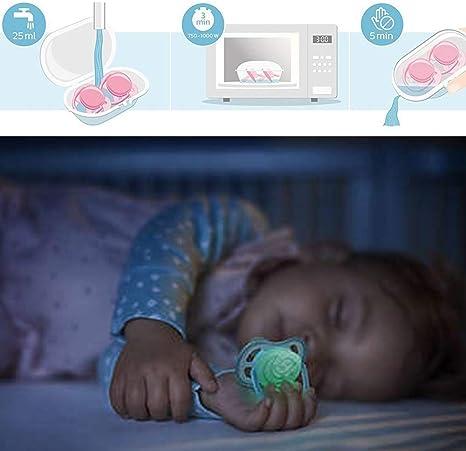 Philips Avent Sucette Ultra Air Night 6-18 mois made in England 2 /étui de st/érilisation lot de 4 GIRLS un bouton luminescent