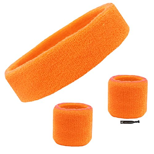 Kenz Laurenz Sweatband Set Cotton Sports Headband Terry Cloth Wristband Moisture Wicking Sweat Absorbing Head Band Athletic Exercise Basketball Wrist Sweatbands and Headbands (Orange) ()