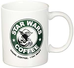 Star Wars Coffee - Yoda - Drink Coffee You Must - 11oz Ceramic Coffee Mug - White Mug - Black and Green One-Sided Print - Gloss Finish