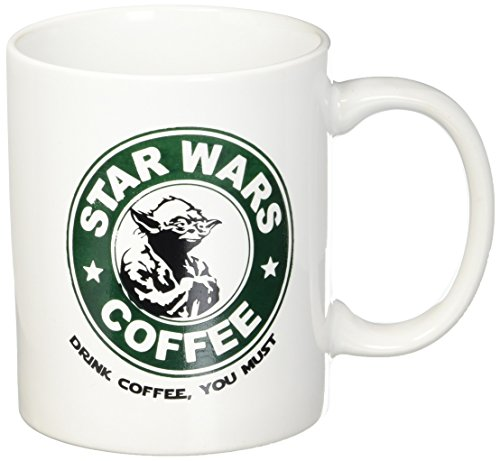 - Star Wars Coffee - Yoda - Drink Coffee You Must - 11oz Ceramic Coffee Mug - White Mug - Black and Green One-Sided Print - Gloss Finish