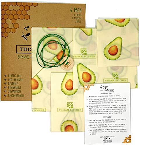4 Pack Reusable Food Wraps by Thisam Kitchen - Food Storage Eco Friendly Organic Sustainable Set of Biodegradable BeesWax Wrap - Plastic & BPA Free - 1 S 2 Med 1 Lg - Zero Waste