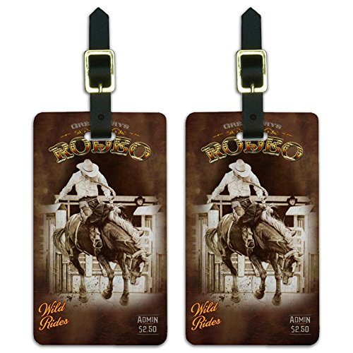 Western Rodeo Vintage Horse Bucking Riding Luggage ID Tags Cards Set of 2